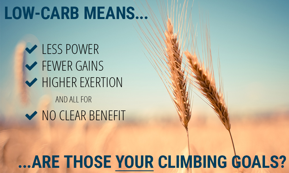 A low-carb diet offers no benefit to climbers.