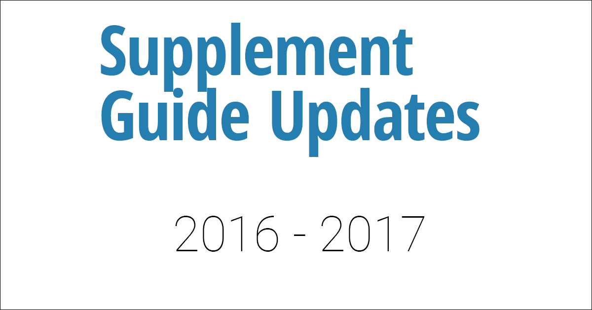 Supplement Guide Updates 2017